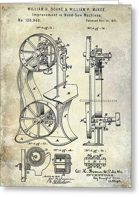 Saws Greeting Cards - 1871 Bandsaw Patent Greeting Card by Jon Neidert