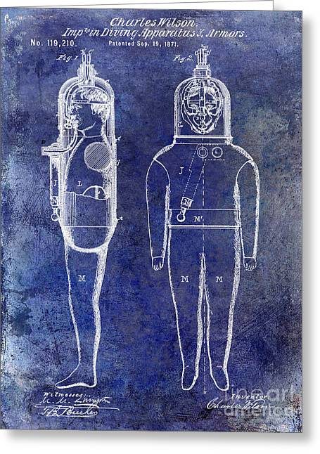 Divers Greeting Cards - 1871 Divers Suit Patent Blue Greeting Card by Jon Neidert