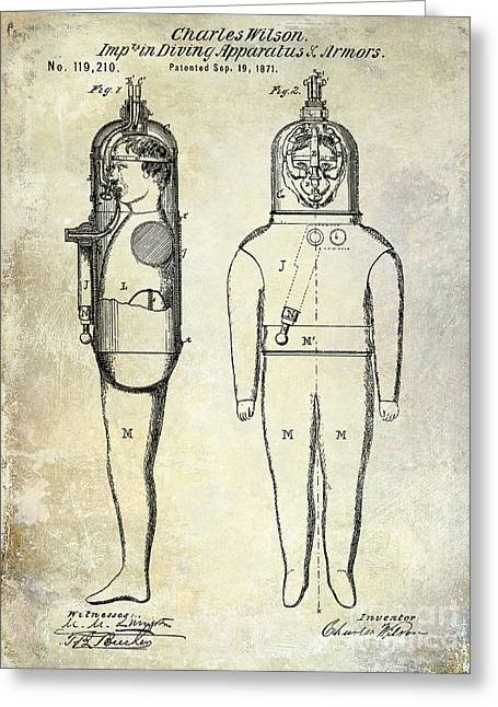 Divers Greeting Cards - 1871 Divers Suit Patent  Greeting Card by Jon Neidert