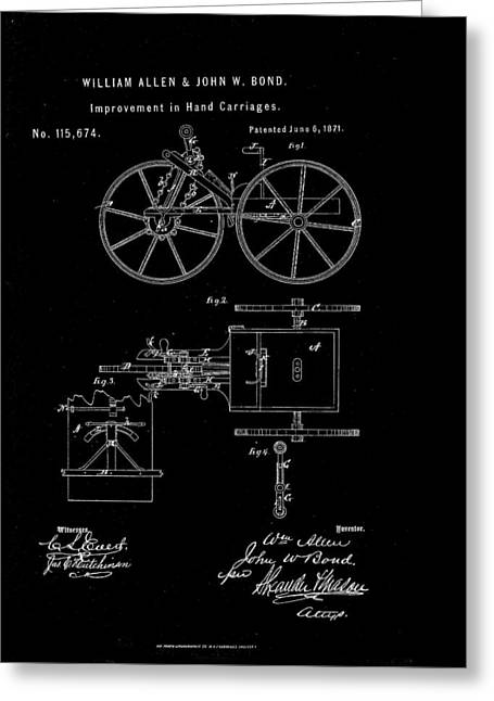 Mechanism Drawings Greeting Cards - 1871 Hand Carriage Patent Drawing Greeting Card by Steve Kearns
