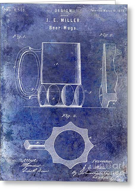 Stein Greeting Cards - 1873 Beer Mug Patent Blue Greeting Card by Jon Neidert