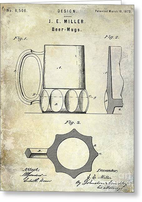 Mustaches Photographs Greeting Cards - 1873 Beer Mug Patent Greeting Card by Jon Neidert