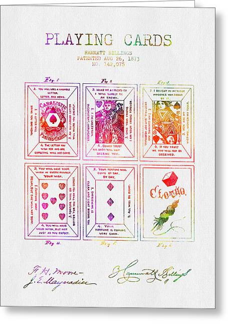 Las Vegas Drawings Greeting Cards - 1873 Billings Playing Cards Patent - Color Greeting Card by Aged Pixel