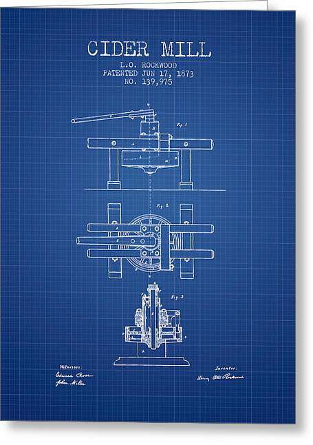 1873 Cider Mill Patent - Blueprint Greeting Card by Aged Pixel