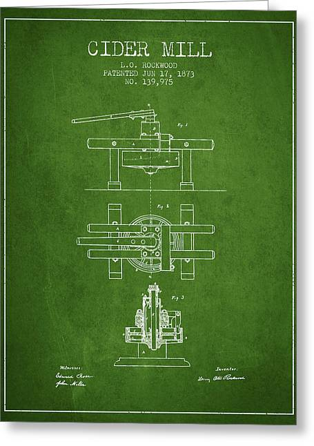 1873 Cider Mill Patent - Green Greeting Card by Aged Pixel