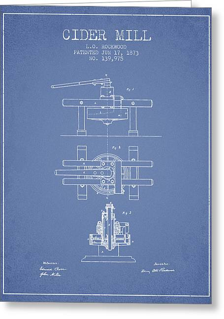 1873 Cider Mill Patent - Light Blue Greeting Card by Aged Pixel