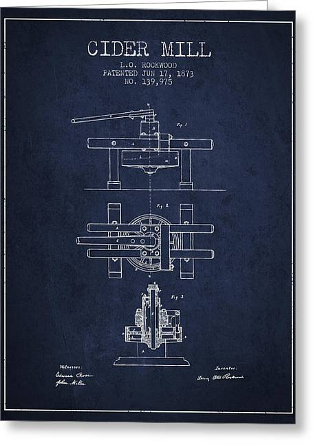 1873 Cider Mill Patent - Navy Blue Greeting Card by Aged Pixel