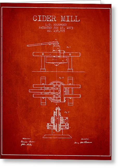 1873 Cider Mill Patent - Red Greeting Card by Aged Pixel