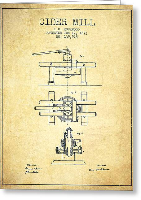 1873 Cider Mill Patent - Vintage Greeting Card by Aged Pixel