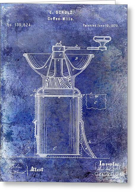 Old Grinders Greeting Cards - 1873 Coffee Mill Patent Blue Greeting Card by Jon Neidert
