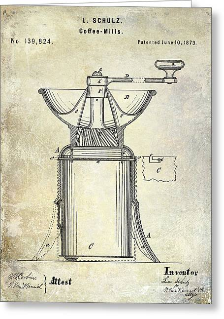 Coffee Grinder Greeting Cards - 1873 Coffee Mill Patent Greeting Card by Jon Neidert