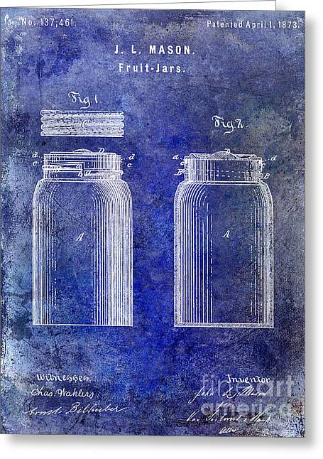 Mason Jar Greeting Cards - 1873 Mason Jar Patent Blue Greeting Card by Jon Neidert