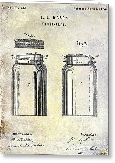 Mason Jar Greeting Cards - 1873 Mason Jar Patent Greeting Card by Jon Neidert