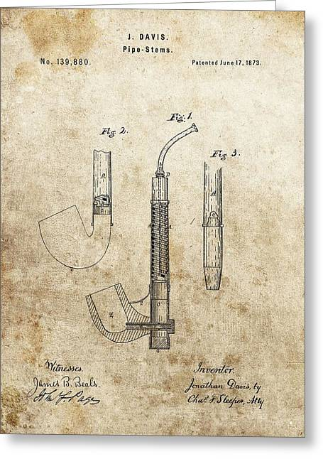 Smoker Greeting Cards - 1873 Pipe Patent Greeting Card by Dan Sproul
