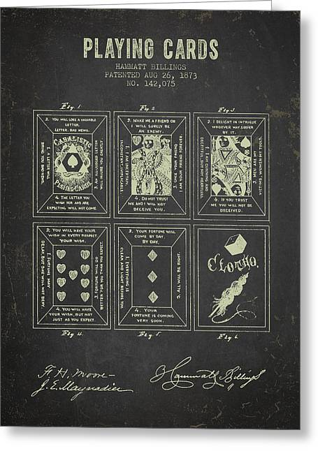 Playing Cards Digital Art Greeting Cards - 1873 Playing Cards Patent - Dark Grunge Greeting Card by Aged Pixel