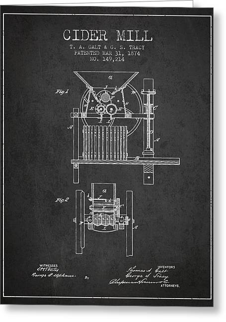 1874 Cider Mill Patent - Charcoal Greeting Card by Aged Pixel