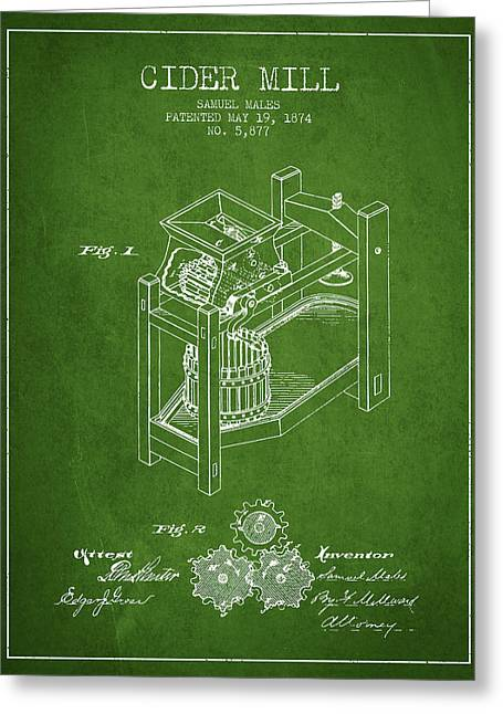 Cider Mill Greeting Cards - 1874 Cider Mill Patent - Green 02 Greeting Card by Aged Pixel
