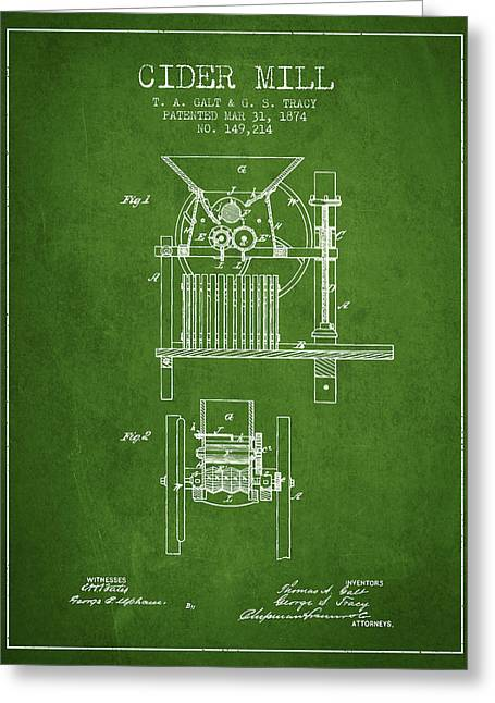 Cider Mill Greeting Cards - 1874 Cider Mill Patent - Green Greeting Card by Aged Pixel