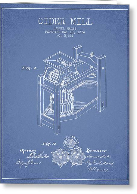 1874 Cider Mill Patent - Light Blue 02 Greeting Card by Aged Pixel
