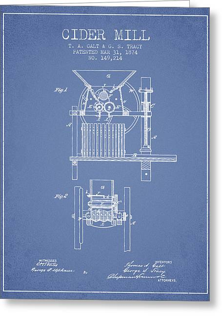 1874 Cider Mill Patent - Light Blue Greeting Card by Aged Pixel