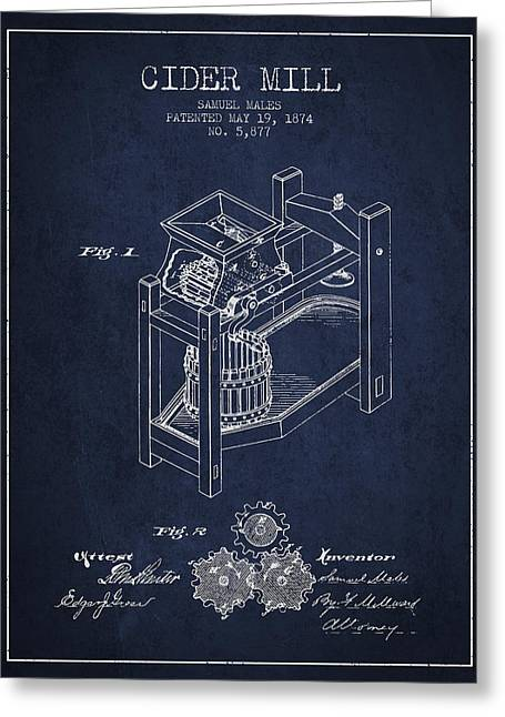 Cider Mill Greeting Cards - 1874 Cider Mill Patent - Navy Blue 02 Greeting Card by Aged Pixel