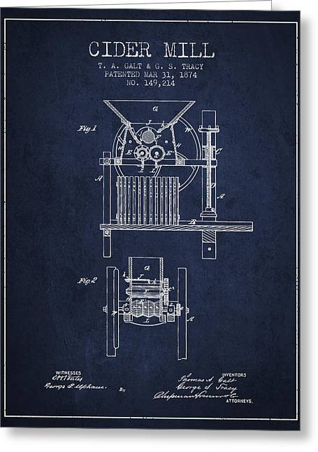 1874 Cider Mill Patent - Navy Blue Greeting Card by Aged Pixel