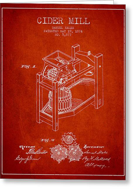 1874 Cider Mill Patent - Red 02 Greeting Card by Aged Pixel