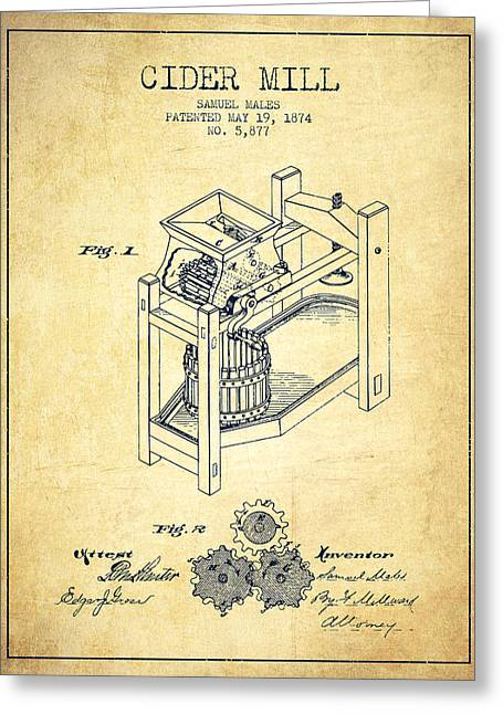 1874 Cider Mill Patent - Vintage 02 Greeting Card by Aged Pixel