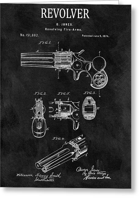 1874 Revolver Gun Patent Greeting Card by Dan Sproul