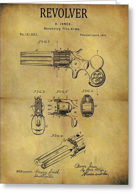 1874 Revolver Patent Greeting Card by Dan Sproul