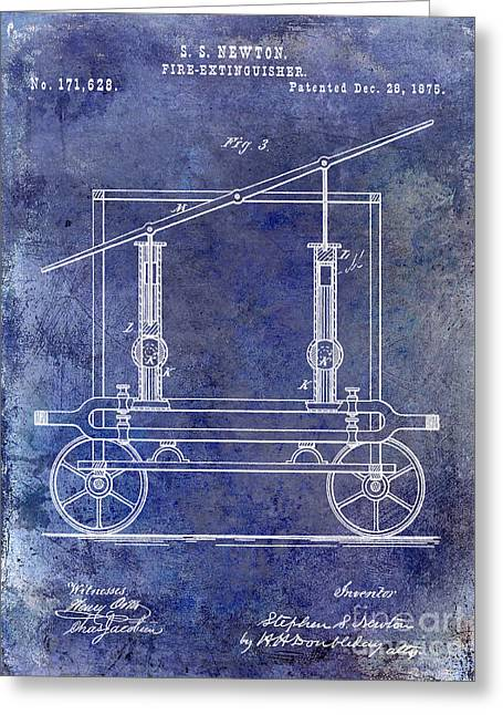 Fire Fighter Greeting Cards - 1875 Fire Extinguisher Patent Blue Greeting Card by Jon Neidert