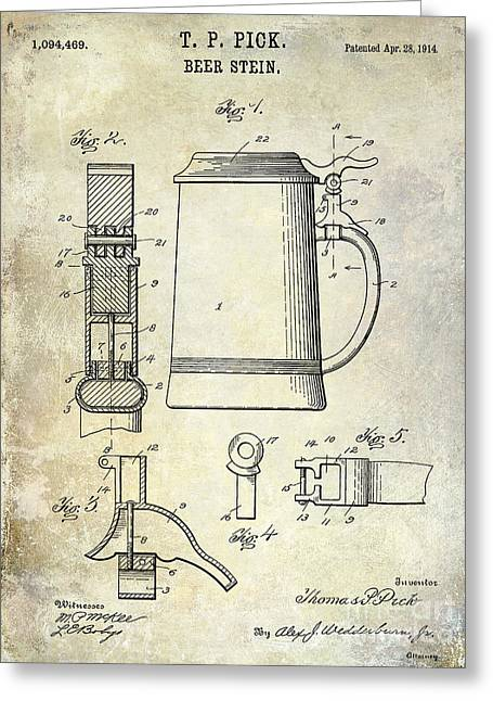 1876 Greeting Cards - 1876 Beer Faucet Patent Drawing Greeting Card by Jon Neidert