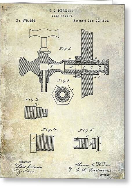 1876 Greeting Cards - 1876 Beer Faucet Patent Greeting Card by Jon Neidert