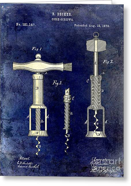 Napa Valley Vineyard Greeting Cards - 1876 Corkscrew Patent Drawing 2 Tone Blue Greeting Card by Jon Neidert