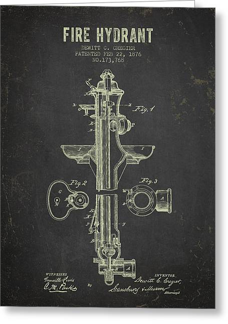 Fire Hydrants Greeting Cards - 1876 Fire Hydrant Patent - Dark Grunge Greeting Card by Aged Pixel