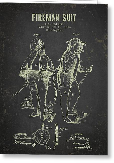 Rescue Greeting Cards - 1876 Fireman Suit Patent - Dark Grunge Greeting Card by Aged Pixel