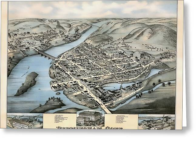 Hand Drawn Greeting Cards - 1876 Vintage Map of Birmingham Connecticut Greeting Card by Stephen Stookey