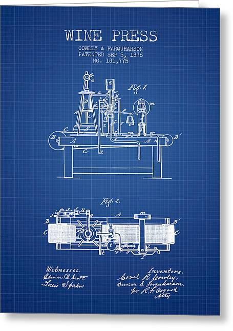Red Wine Bottle Greeting Cards - 1876 Wine Press Patent - Blueprint Greeting Card by Aged Pixel
