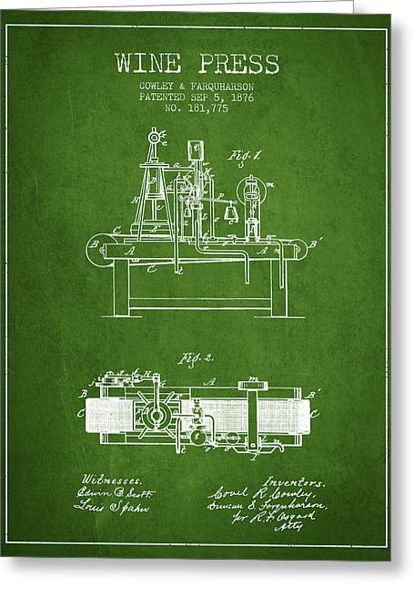 Red Wine Bottle Greeting Cards - 1876 Wine Press Patent - Green Greeting Card by Aged Pixel