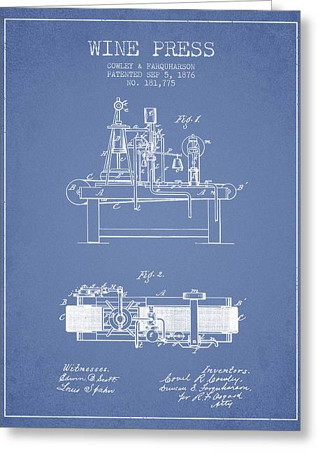 Red Wine Bottle Greeting Cards - 1876 Wine Press Patent - Light Blue Greeting Card by Aged Pixel