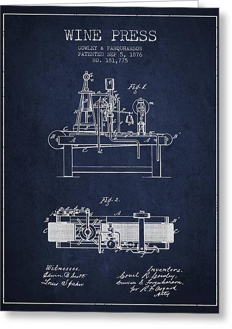 Red Wine Bottle Greeting Cards - 1876 Wine Press Patent - navy Blue Greeting Card by Aged Pixel