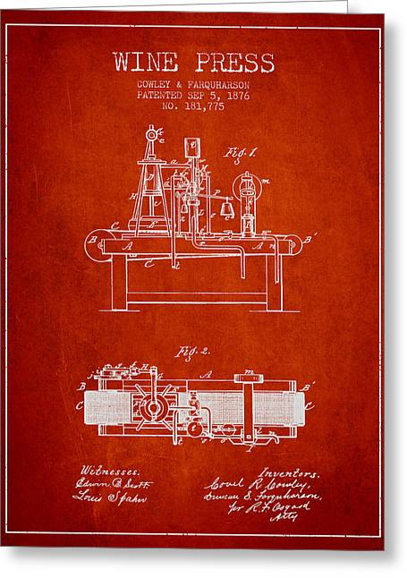Red Wine Bottle Greeting Cards - 1876 Wine Press Patent - red Greeting Card by Aged Pixel