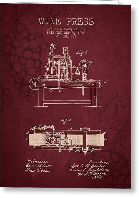 Red Wine Bottle Greeting Cards - 1876 Wine Press Patent - Red Wine Greeting Card by Aged Pixel
