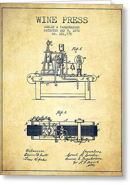 Red Wine Bottle Greeting Cards - 1876 Wine Press Patent - Vintage Greeting Card by Aged Pixel