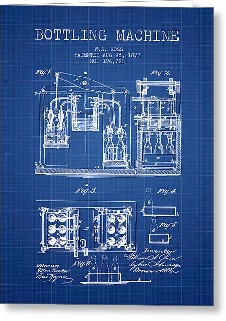 1877 Bottling Machine Patent - Blueprint Greeting Card by Aged Pixel