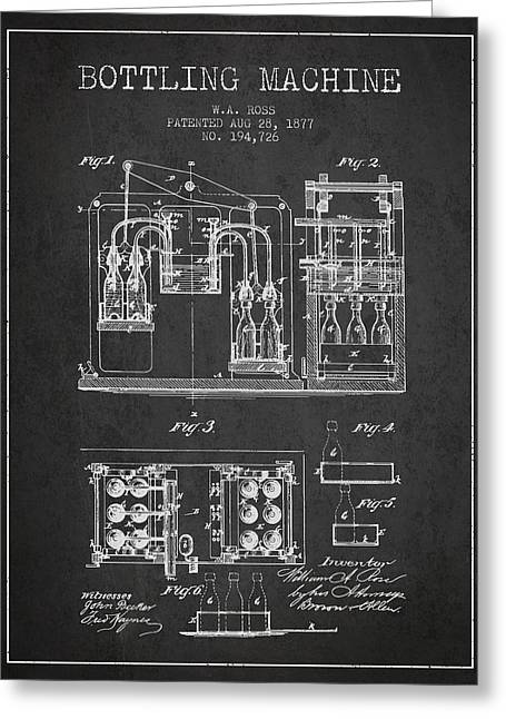 Bottle. Bottling Drawings Greeting Cards - 1877 Bottling Machine patent - Charcoal Greeting Card by Aged Pixel