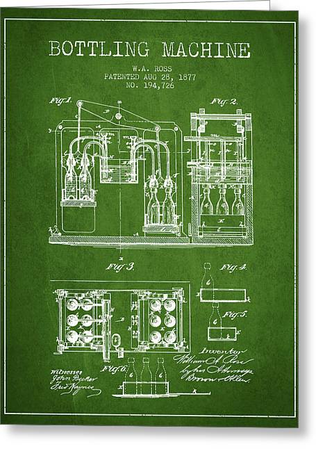 Bottle. Bottling Drawings Greeting Cards - 1877 Bottling Machine patent - Green Greeting Card by Aged Pixel