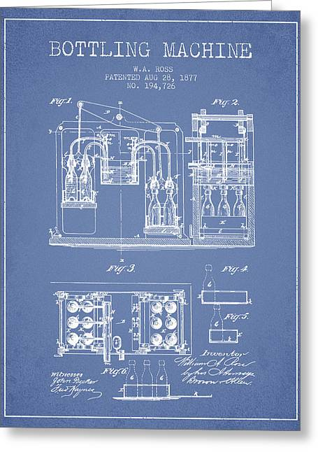 Bottle. Bottling Drawings Greeting Cards - 1877 Bottling Machine patent - Light Blue Greeting Card by Aged Pixel