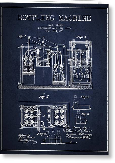 Bottle. Bottling Drawings Greeting Cards - 1877 Bottling Machine patent - Navy Blue Greeting Card by Aged Pixel