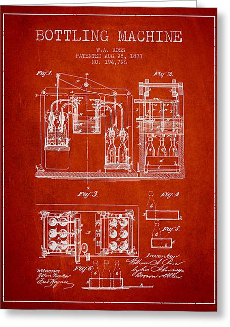 Bottle. Bottling Drawings Greeting Cards - 1877 Bottling Machine patent - Red Greeting Card by Aged Pixel